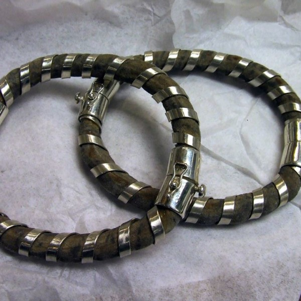 Hippo hide tendon bangles wrapped in silver.