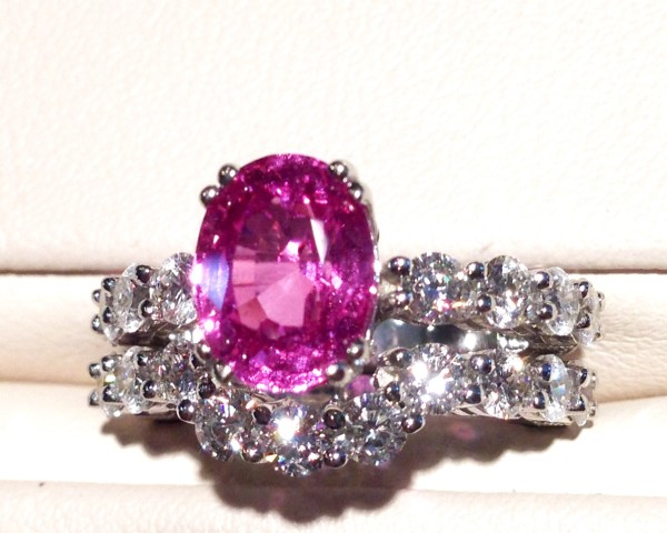 The final product of the pink sapphire bridal set