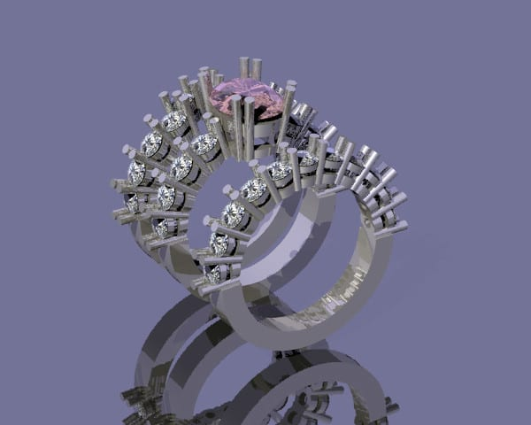 A CAD Representation of the pink sapphire bridal set.